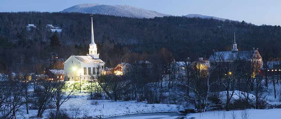 Stowe, VT, in winter