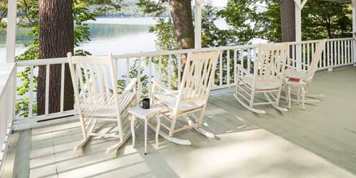 Cabin Deck with Chairs - Lake Morey Resort - Fairlee, VT