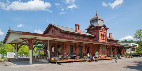 Train Station Exterior Angled View - Green Mountain Coffee Visitors Center & Café - Waterbury, VT