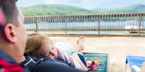 Girl Asleep on Dad - Lake Morey Resort - Fairlee, VT