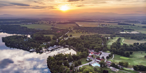 Sunset Aerial View - Basin Harbor - Vergennes, VT