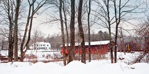vermont covered bridge in winter