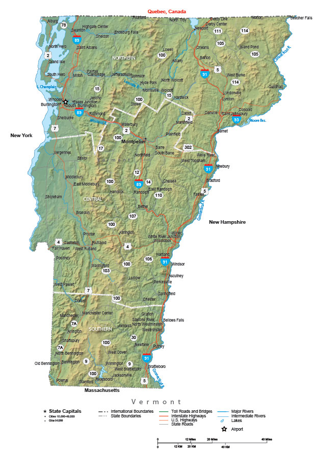 State Map: Map Of Central Vermont At Usa Maps