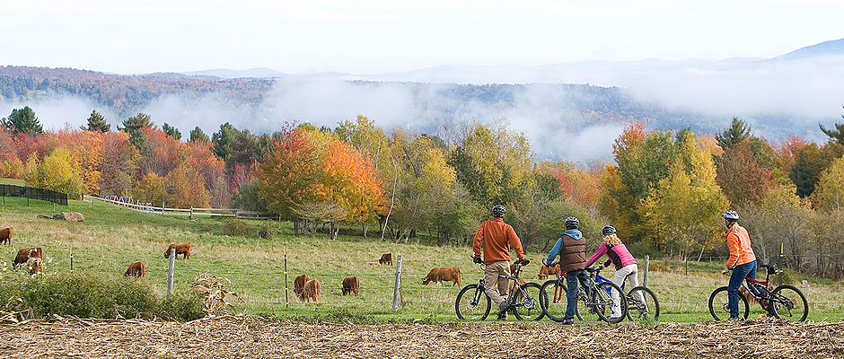 Mountain Bike Riding in Fall in Vermont